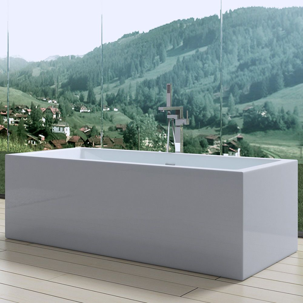 AquaSoak Square Double Ended Freestanding Bath Tub Acrylic White ...